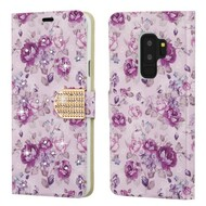 *SALE* Luxury Bling Portfolio Leather Wallet Case for Samsung Galaxy S9 Plus - Fresh Purple Flowers