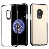 *Sale* Crystal Clear Transparent TPU Case with Bumper Reinforcement for Samsung Galaxy S9 - Black