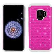 TotalDefense Diamond Hybrid Case for Samsung Galaxy S9 - Hot Pink White