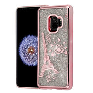 *Sale* Electroplating Quicksand Glitter Transparent Case for Samsung Galaxy S9 - Eiffel Tower Rose Gold