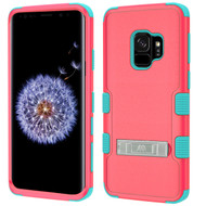 Military Grade Certified TUFF Hybrid Armor Case with Stand for Samsung Galaxy S9 - Pink Teal