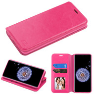 Book-Style Leather Folio Case for Samsung Galaxy S9 Plus - Hot Pink