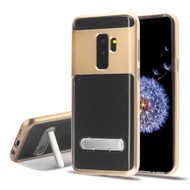 Bumper Shield Clear Transparent TPU Case with Magnetic Kickstand for Samsung Galaxy S9 Plus - Gold