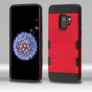 Military Grade Certified TUFF Trooper Dual Layer Hybrid Armor Case for Samsung Galaxy S9 - Red