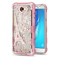 Tuff Lite Quicksand Glitter Electroplating Transparent Case for Samsung Galaxy J7 (2017) / J7 V / J7 Perx - Eiffel Tower