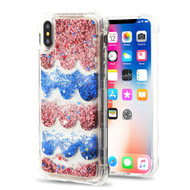 *Sale* Tuff Lite Quicksand Glitter Transparent Case for iPhone XS / X - Semicircle Partition Rose Gold Blue