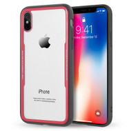 *Sale* Crystal Clear Tempered Glass Backing Case for iPhone XS / X - Red