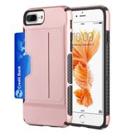 Exec Hybrid Case with Card Holder Compartment for iPhone 8 Plus / 7 Plus / 6S Plus / 6 Plus - Rose Gold