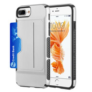 Exec Hybrid Case with Card Holder Compartment for iPhone 8 Plus / 7 Plus / 6S Plus / 6 Plus - Silver