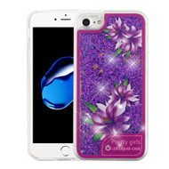 Confetti Quicksand Glitter Transparent Case with Flashing LED Light for iPhone 8 / 7 - Purple Lilies