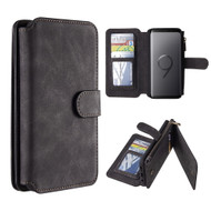 Luxury Coach Series Leather Wallet with Removable Magnet Case for Samsung Galaxy S9 Plus - Black