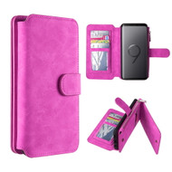 Luxury Coach Series Leather Wallet with Removable Magnet Case for Samsung Galaxy S9 Plus - Hot Pink