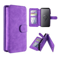 Luxury Coach Series Leather Wallet with Removable Magnet Case for Samsung Galaxy S9 Plus - Purple