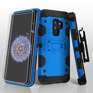 Military Grade Certified Storm Tank Hybrid Case with Holster and Screen Protector for Samsung Galaxy S9 Plus - Blue