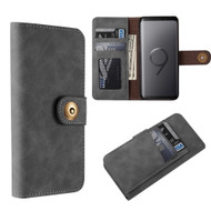 Luxury Coach Lite Series Leather Wallet with Removable Magnetic Case for Samsung Galaxy S9 Plus - Black