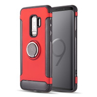 Carbon Edge Sports Hybrid Armor Case with Ring Holder for Samsung Galaxy S9 Plus - Red