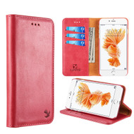 Luxury Magnetic Leather Wallet Case for iPhone 8 Plus / 7 Plus - Red