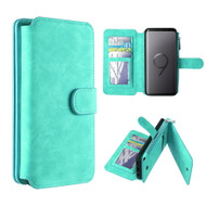 Luxury Coach Series Leather Wallet with Removable Magnet Case for Samsung Galaxy S9 - Teal