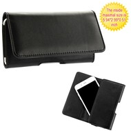 Universal Magnetic Leather Folio Hip Smartphone Case - Black