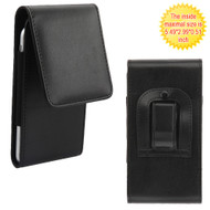 Universal Magnetic Vertical Leather Hip Smartphone Case - Black