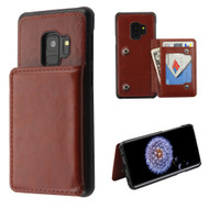 Pocket Wallet Case with Card Stand for Samsung Galaxy S9 - Brown