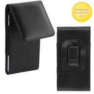 Universal Magnetic Vertical Flip Leather Folio Hip Smartphone Case - Black