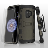 Military Grade Certified Storm Tank Hybrid Case with Holster and Screen Protector for Samsung Galaxy S9 - Grey