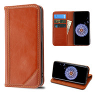 Mybat Genuine Leather Wallet Case for Samsung Galaxy S9 - Brown