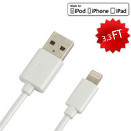 Vrank MFI Lightning Connector to USB Charging and Sync Cable - 3.3 ft. White