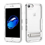 TUFF Panoview Transparent Hybrid Case with Magnetic Kickstand for iPhone 8 / 7 / 6S / 6 - Electroplated Silver
