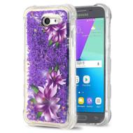 Tuff Lite Quicksand Glitter Case for Samsung Galaxy J3 (2017) / J3 Emerge / J3 Prime / Amp Prime 2 - Purple Lilies