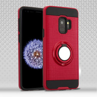 Sports Hybrid Armor Case with Smart Loop Ring Holder for Samsung Galaxy S9 - Red