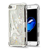 Tuff Lite Quicksand Glitter Electroplating Transparent Case for iPhone 8 / 7 / 6S / 6 - Eiffel Tower Silver