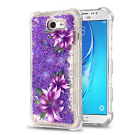 Tuff Lite Quicksand Glitter Transparent Case for Samsung Galaxy J7 (2017) / J7 V / J7 Perx - Purple Lilies