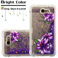 Tuff Lite Quicksand Glitter Transparent Case for Samsung Galaxy J7 (2017) / J7 V / J7 Perx - Purple Lilies