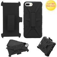 Rugged Hybrid Armor Case and Holster for iPhone 8 Plus / 7 Plus - Black