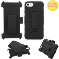 Rugged Hybrid Armor Case and Holster for iPhone 8  / 7  - Black