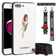 Crystal 3D Jewel TPU Case with Lanyard and Hand Strap for iPhone 8 Plus / 7 Plus - Rose White