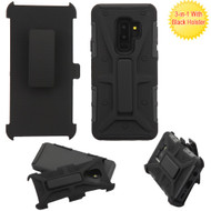 Rugged Hybrid Armor Case and Holster for Samsung Galaxy S9 Plus - Black