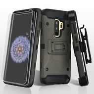 3-IN-1 Kinetic Hybrid Armor Case with Holster and Screen Protector for Samsung Galaxy S9 Plus- Grey