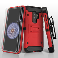 3-IN-1 Kinetic Hybrid Armor Case with Holster and Screen Protector for Samsung Galaxy S9 Plus- Red