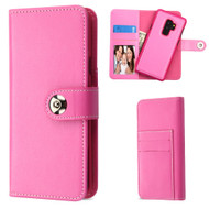 2-IN-1 Premium Leather Wallet with Removable Magnetic Case for Samsung Galaxy S9 Plus - Hot Pink
