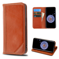 Mybat Genuine Leather Wallet Case for Samsung Galaxy S9 Plus - Brown