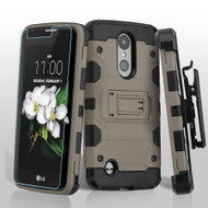Military Grade Storm Tank Holster Case for LG Aristo 2 / Fortune 2 / K8 (2018) / Tribute Dynasty / Zone 4 - Grey