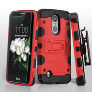 Military Grade Storm Tank Holster Case for LG Aristo 2 / Fortune 2 / K8 (2018) / Tribute Dynasty / Zone 4 - Red