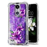 Tuff Lite Quicksand Glitter Case for LG Aristo 2 / Fortune 2 / K8 (2018) / Tribute Dynasty / Zone 4 - Purple Lilies