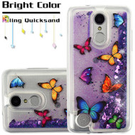 Quicksand Glitter Transparent Case for LG Aristo 2 / Fortune 2 / K8 (2018) / Tribute Dynasty / Zone 4 - Butterfly