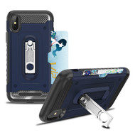 *Sale* The Mechanic Hybrid Armor Case with Card Holder and Metal Loop Kickstand for iPhone XS / X - Navy Blue