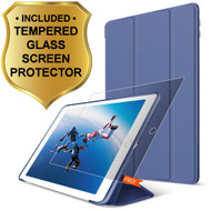All-In-One Smart Hybrid Case and Tempered Glass Screen Protector for iPad (2018/2017) / iPad Air - Navy Blue
