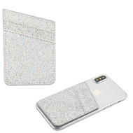 Glittering Adhesive Card Pocket Pouch - Silver